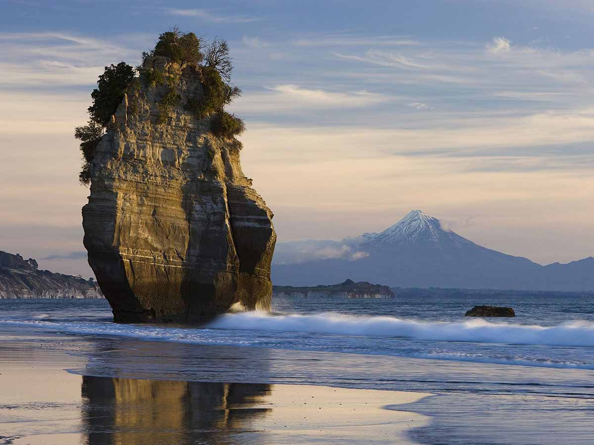 Sea Stack & Mount Taranaki, New Zealand