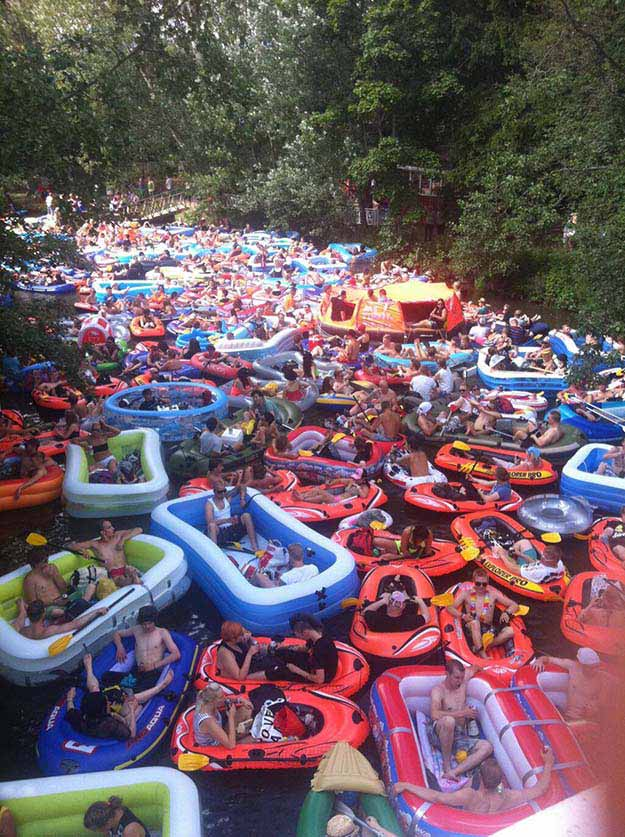 "Just the annual ""beer floating"" -event near Helsinki, Finland"