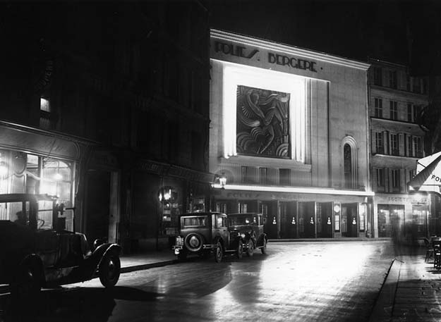 Les Folies Bergère, the theater where Josephine Baker performed, at night in 1929.