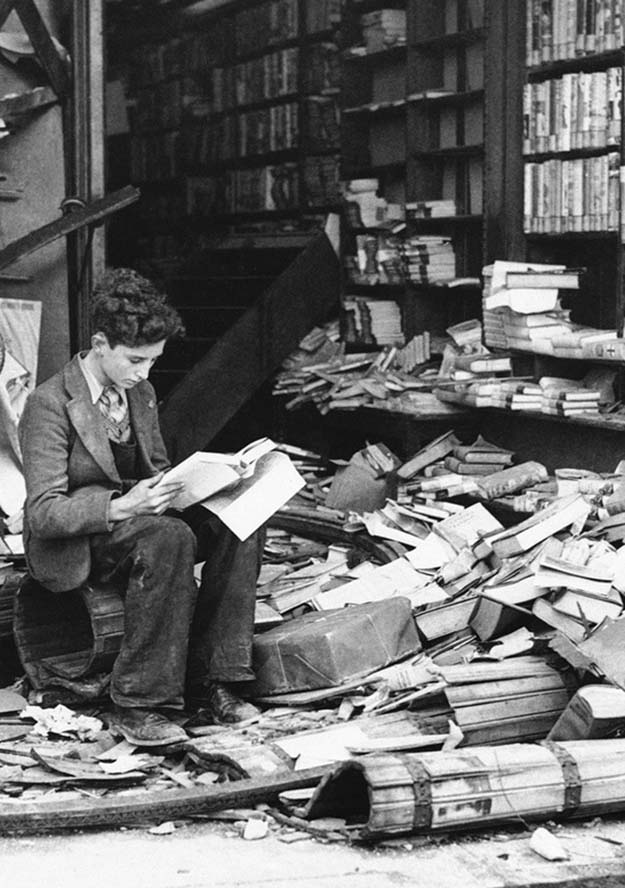 Bookstore ruined by an air raid, London 1940