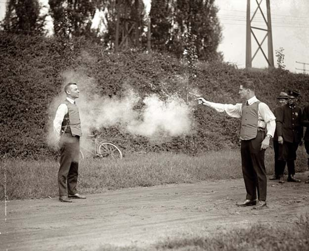 Testing new bulletproof vests, 1923