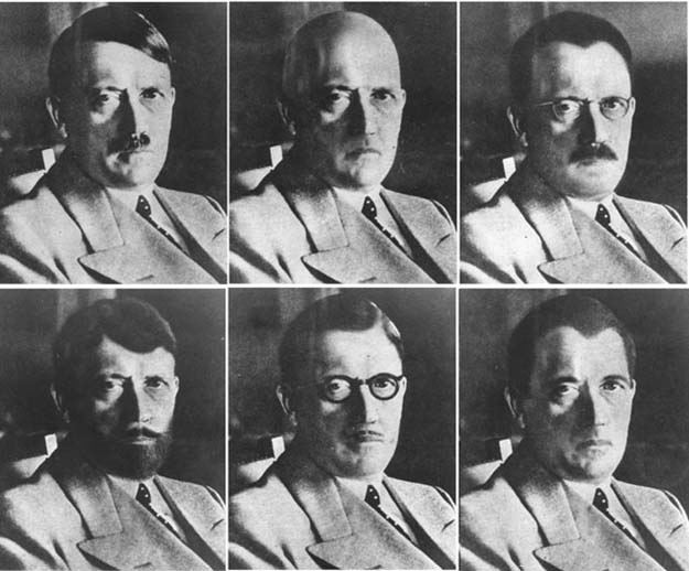 US Government mockups of how Hitler could have disguised himself (1940s)