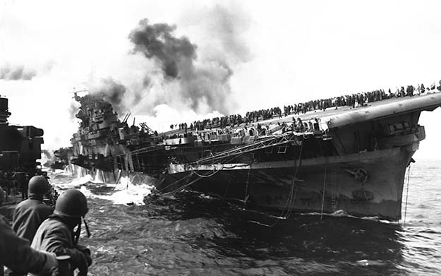 USS Franklin – The most heavily damaged aircraft carrier to survive the war.