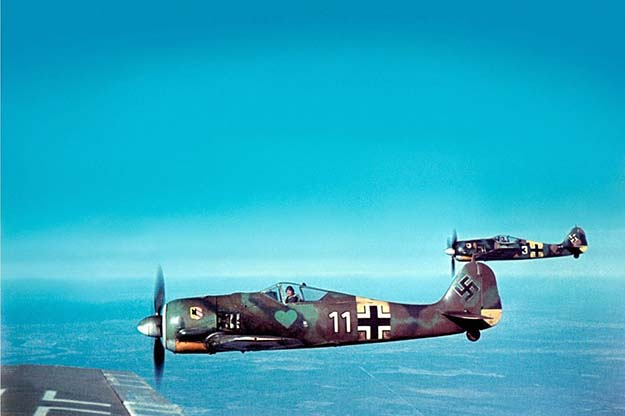 Beautiful color image of the German Focke-Wulf Fw 190A-5 fighters