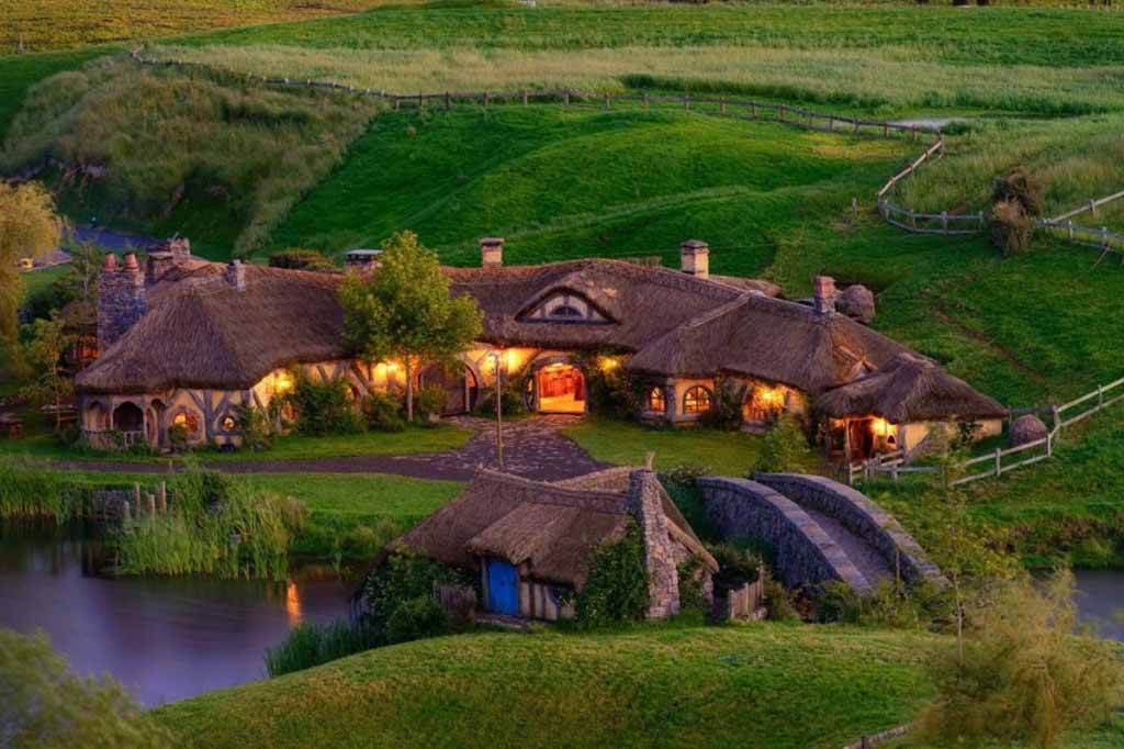 "Hobbiton village – ""Lord of the Rings"" movie location in New Zealand."