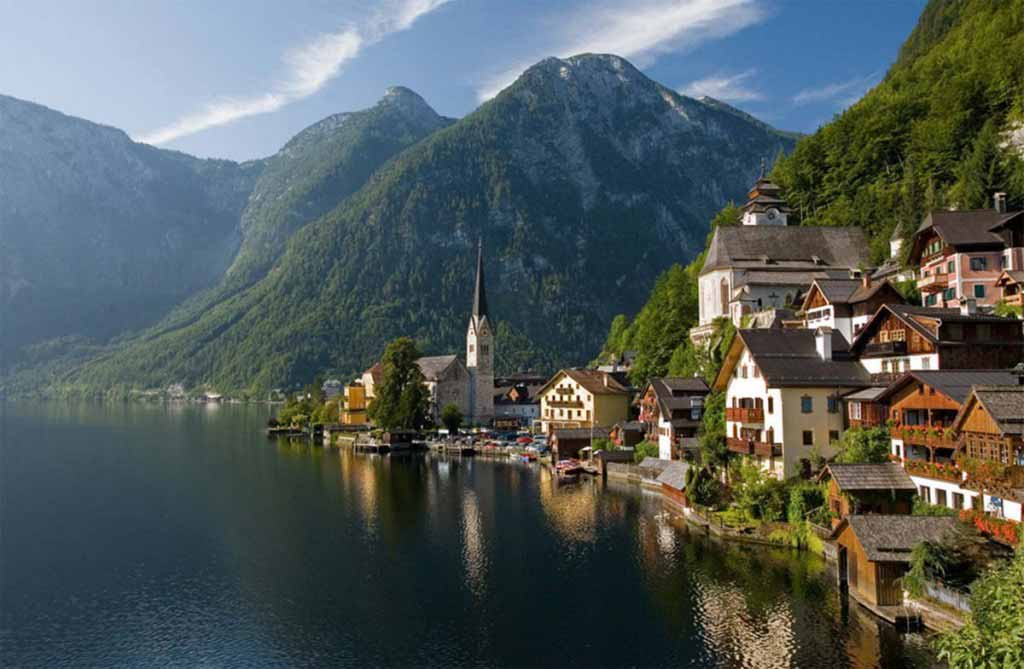 Hallstatt, Upper Austria, is a village in the Salzkammergut, a region in Austria with 946 inhabitants
