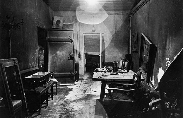 One of the first photos that was taken inside of Hitler's bunker (Führerbunker) in 1945 by Allied soldiers