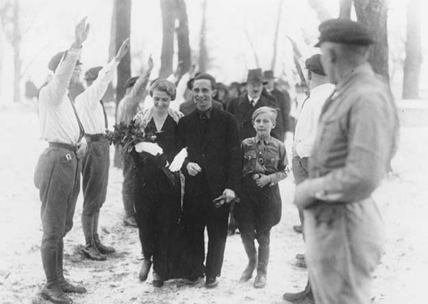 Joseph and magda Goebbels on their wedding day. Best man- Adolf Hitler (1931)
