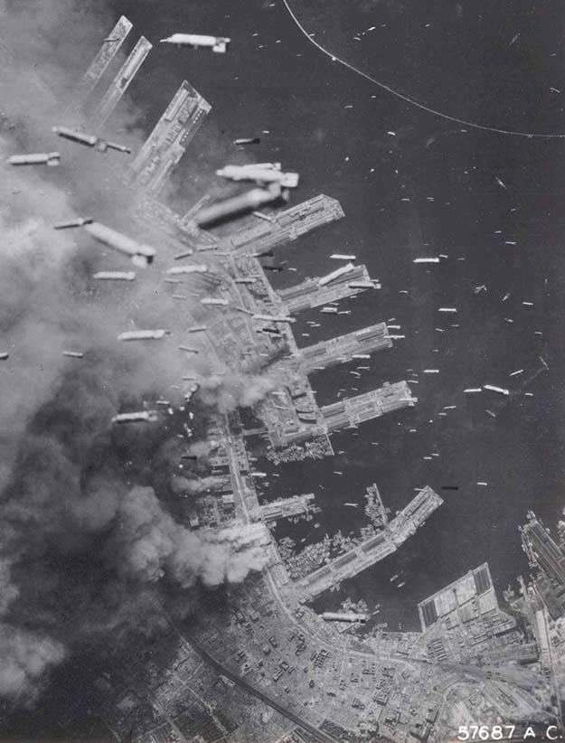 Bombs dropped on Kobe, Japan (1945)