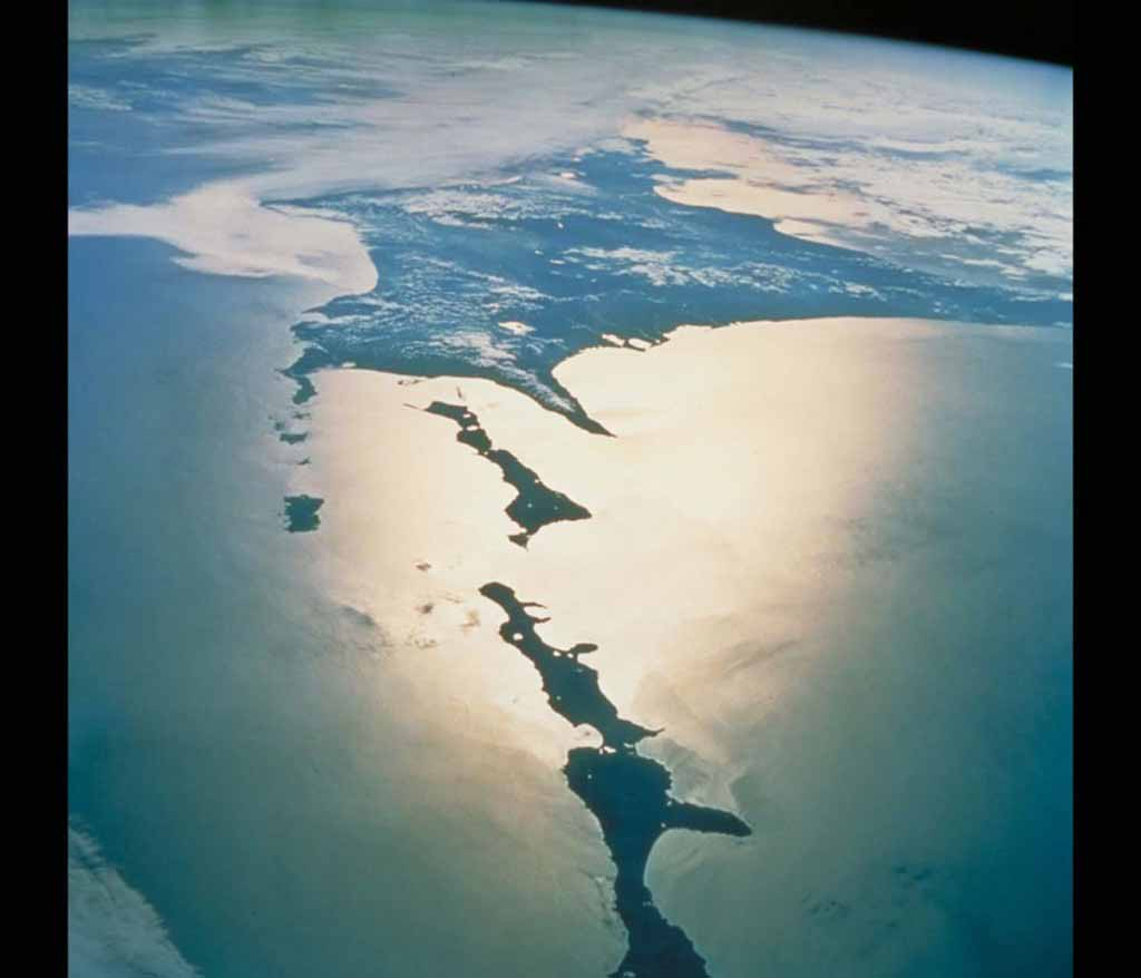 The Chishima Islands and Hokkaido as seen from the space shuttle.