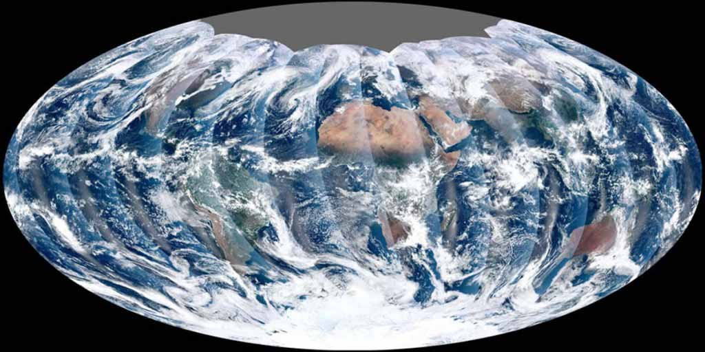 From its vantage 824 kilometers above Earth, satellite gets a complete view of our planet every day.