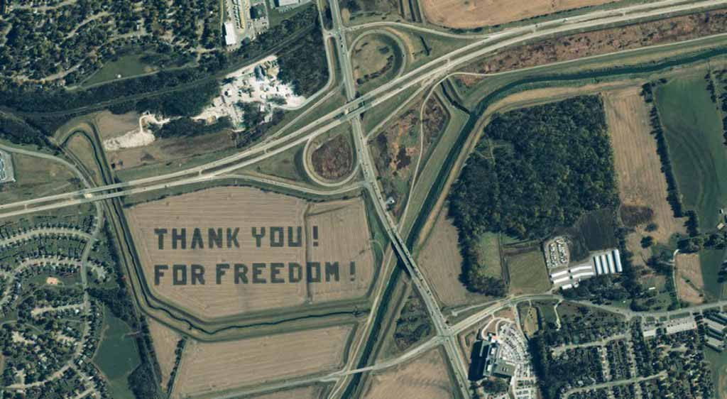 words 'Thank You! For Freedom!', Nebraska