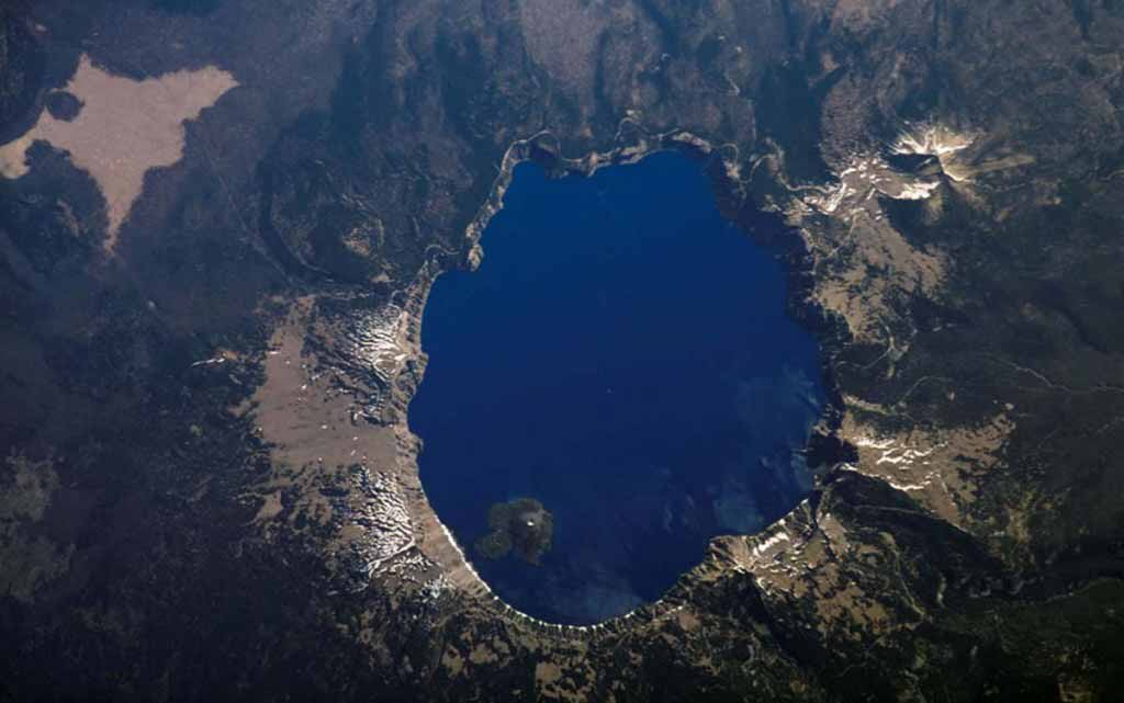 Crater Lake, Oregon is featured in this image photographed by the International Space Station.
