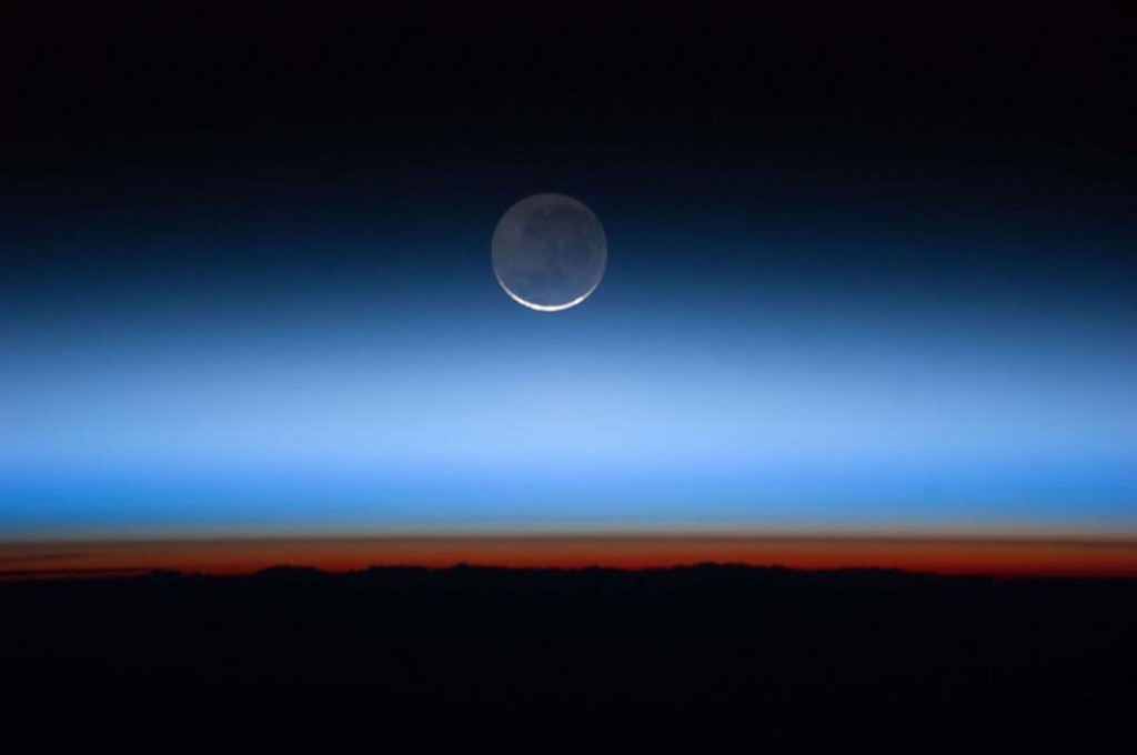 Moon Over Earth as seen from ISS.