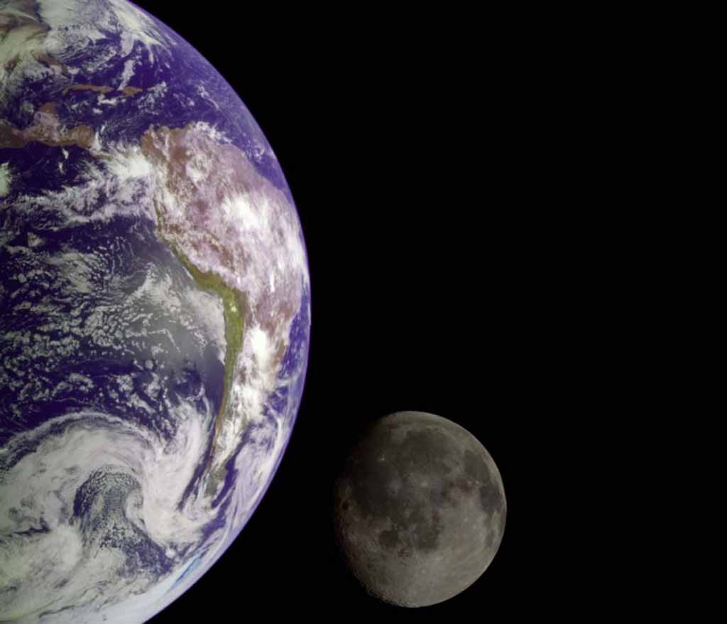 The Earth and Moon.
