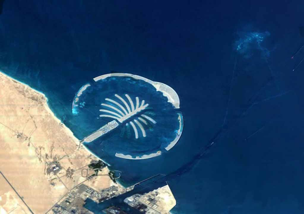 Dubai. The islands are being built in shallow waters of the wide contintental shelf found off Dubai.