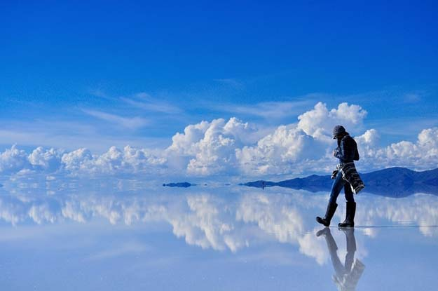 Reflective salt flats in Bolivia.