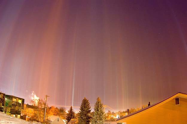 Light pillars over Moscow.