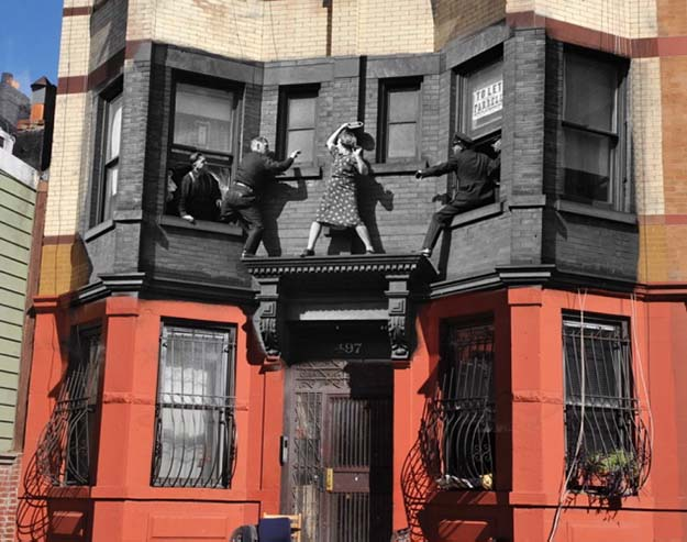 Vintage Crime Scene Photos Superimposed on Modern NY Streets