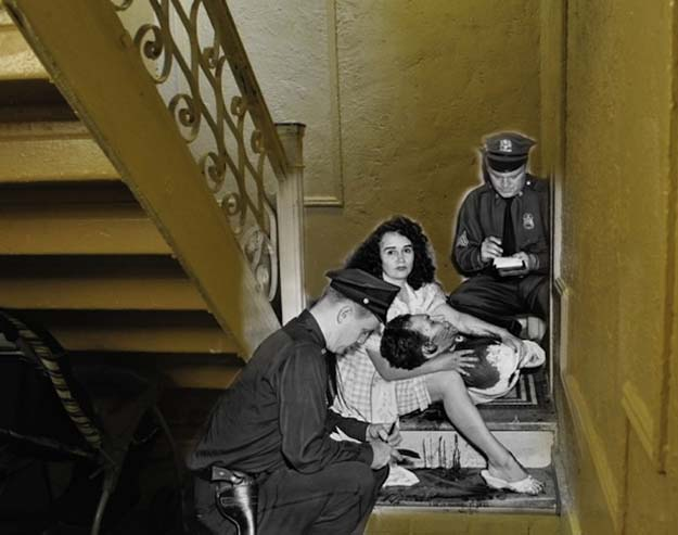 A classic case of jealousy. In this stairwell of 992 Southern Blvd. on Sept. 25, 1961, James Linares lay bleeding in the arms of his girlfriend Josephine Dexidor after being shot by her husband. The same banister still scales the length of the hallway.