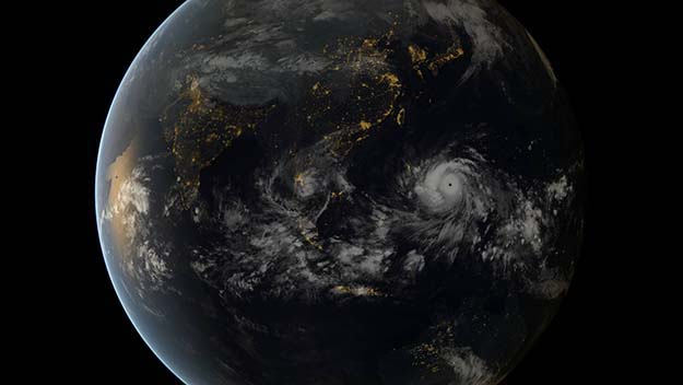 This is a shot of Typhoon Haiyan from a Japanese geostationary satellite