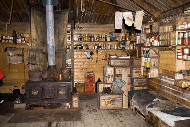Interior of Shackleton's hut, Antarctica left as it was in 1908. photo taken in 2009. Note the socks that have been hung up to dry for over a century