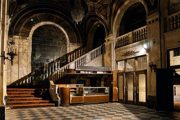 A very majestic abandoned movie theater. Lobby and Candy Bar. Detroit, Michigan