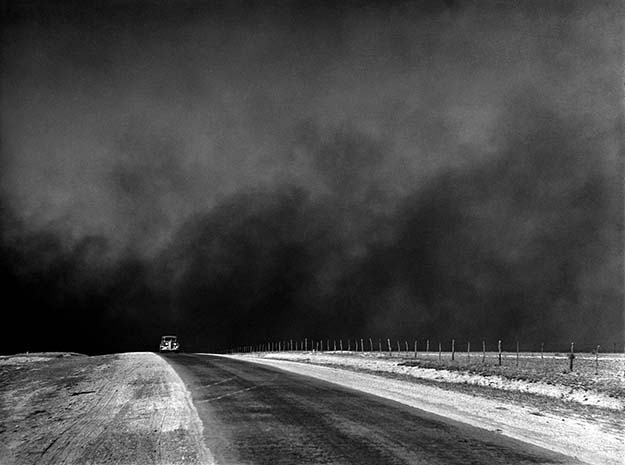 A car drives through the Dust Bowl, Texas, 1936