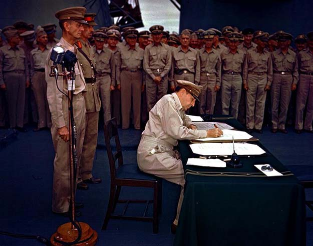 Gen. Douglas MacArthur accepts Japanese surrender, USS Missouri, Tokyo Bay, September 2, 1945