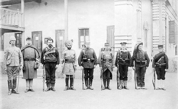Troops of the Eight Nations Alliance in 1900. Left to right: Britain, United States, Australia, British India, Germany, France, Austria, Italy, Japan