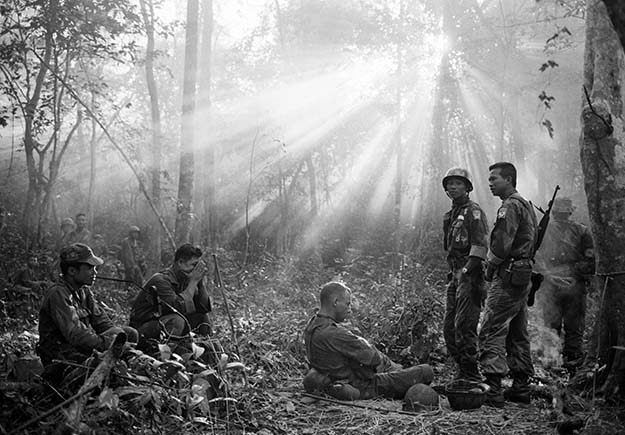 The morning after a long night awaiting a Viet Cong ambush that never came. 40 miles East of Saigon, Vietnam, 1965