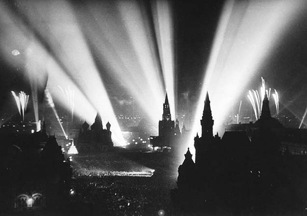 The end of WWII is celebrated in Moscow's Red Square. May 9, 1945