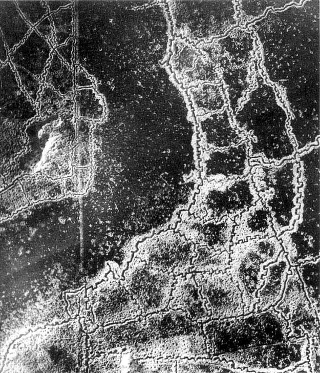 An aerial view of the WWI Loos-Hulluch trench system in France.