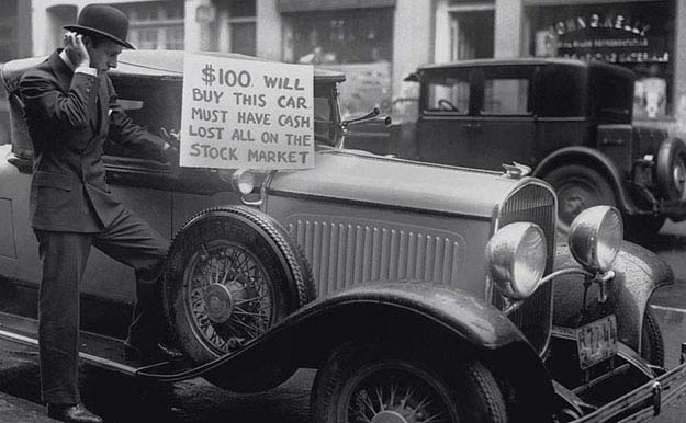 A man trying to sell his car after losing all in the Great Crash of 1929