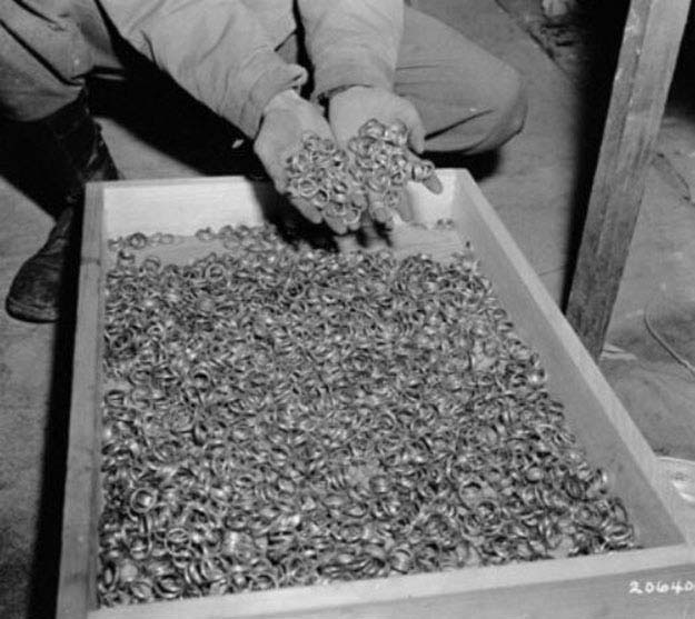 Wedding rings from WW II concentration camps. Each pair of rings represents a family, a marriage, a couple. 1945