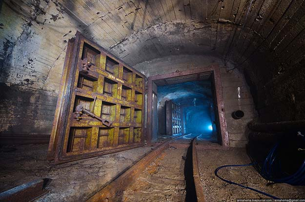 Massive door in an abandoned mine