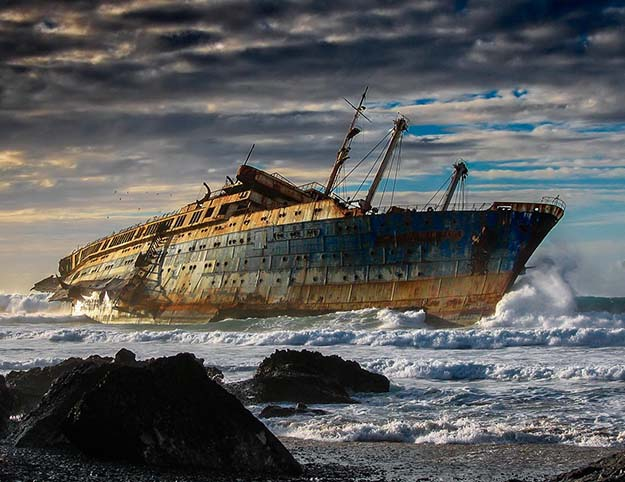 Wreck of the SS America on the coast of Fuerteventura, Canary Islands