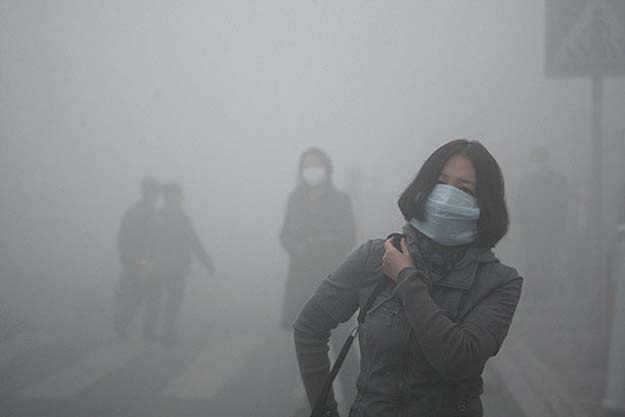 Harbin, China and their smog. Currently at 40X international standards.