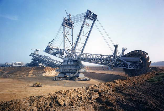 Large-scale excavator at a lignite open pit mine