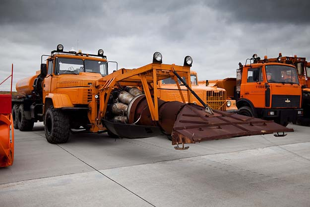 KRAZ truck with a MIG-15 turbojet engine used to clean and blow-dry the runway in winter. Domodedovo airport, Moscow, Russia