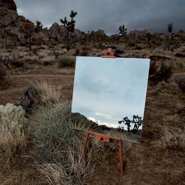 Photographs of Mirrors on Easels that Look Like Paintings in the Desert