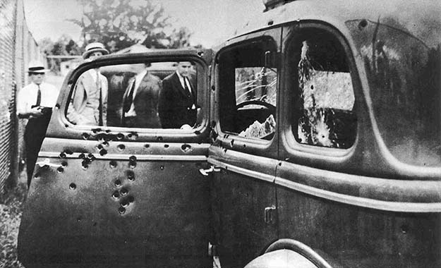 Bonnie and Clyde's car after they were killed, 1934