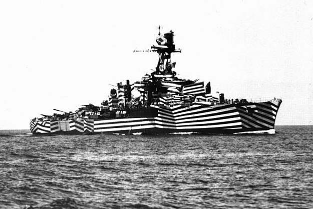 Dreadnought in dazzle camouflage, it works not by offering concealment but by making it difficult to estimate a target's range, speed and heading. 1919