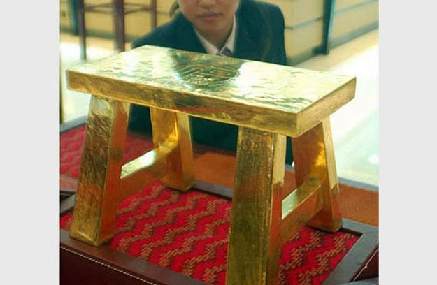 110 lbs of solid gold stool ($1.3 million)