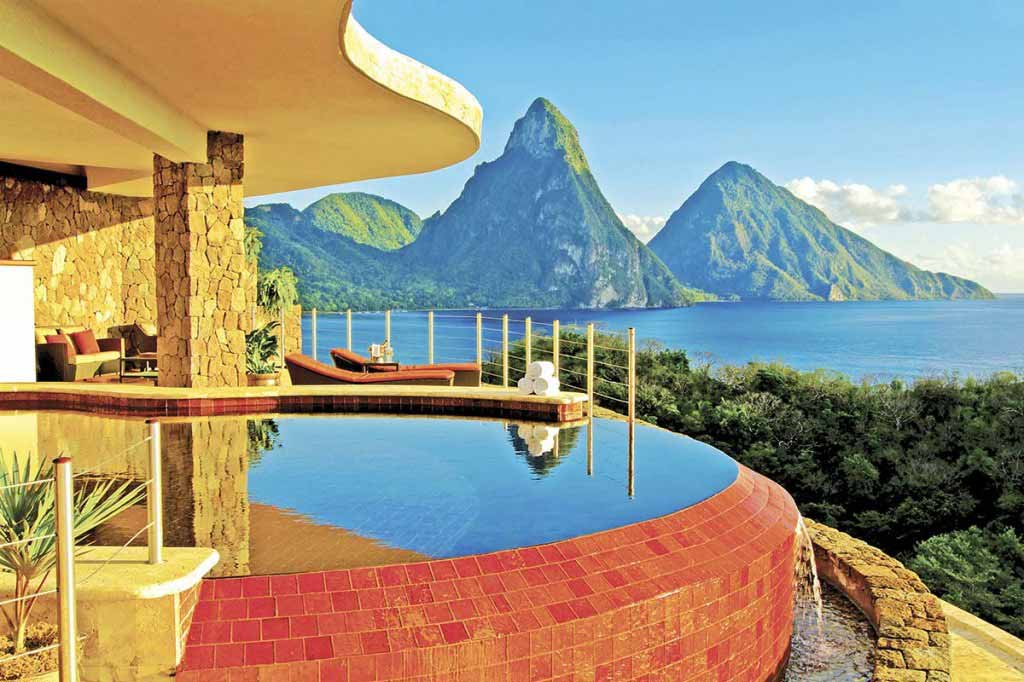 This room has the best possible view of Jade Mountain in St. Lucia