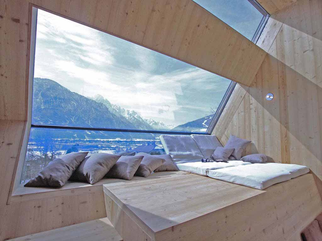I want to stay in this room with a view of the Austrian Alps…