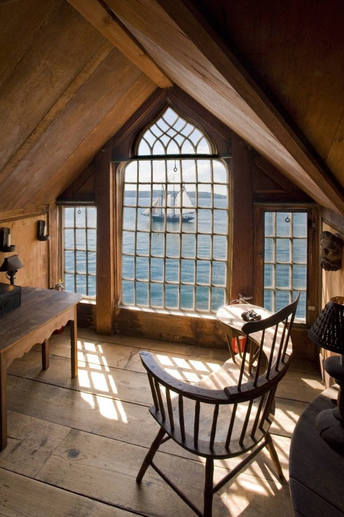 This beautiful attic room has a great Cape Cod view…