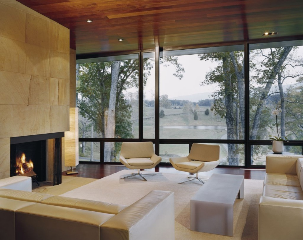 This beautiful living room has a great view of the rolling hills of Virginia…