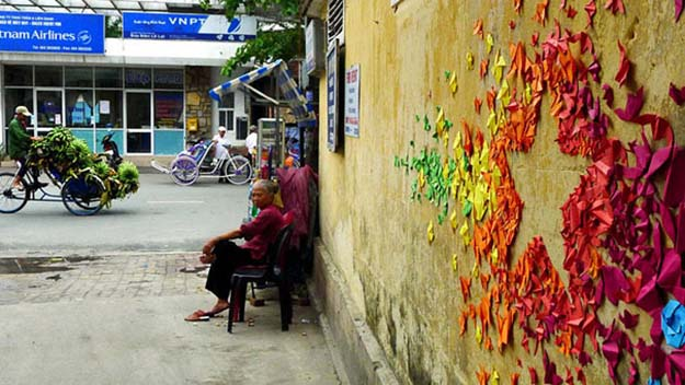 Colorful Origami Street Art