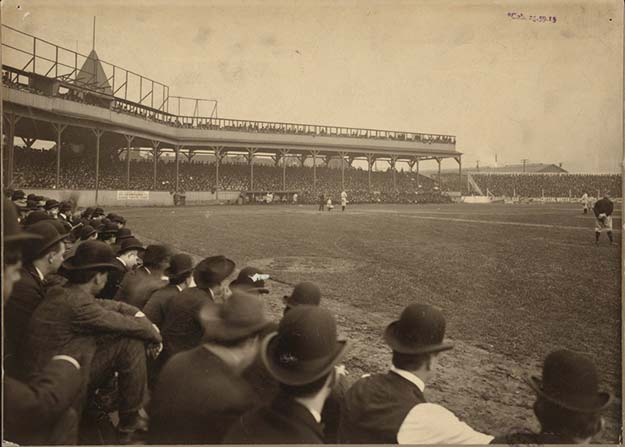 View from the stands at game 4 of the first World Series, October 6th, 1903 at Exposition Park in Pittsburgh